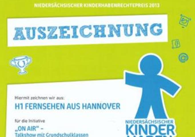 """h1 unter den TOP 10 beim """"Kinder haben Rechte Preis 2013"""""""